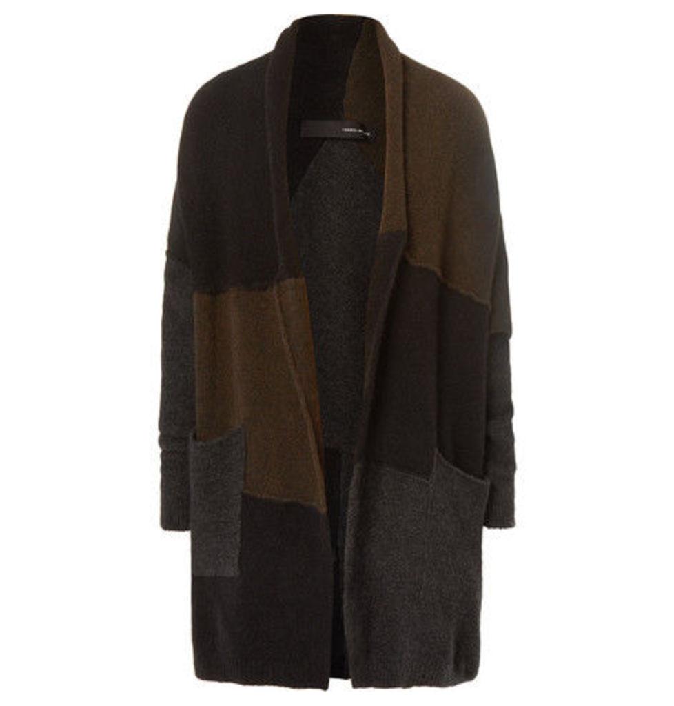 Isabel Benenato - Colour-block Panelled Merino Wool-blend Cardigan - Brown