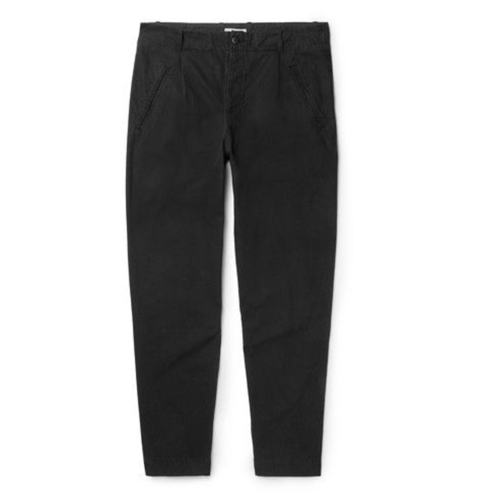 Folk - Assembly Tapered Garment-dyed Cotton-ripstop Trousers - Black