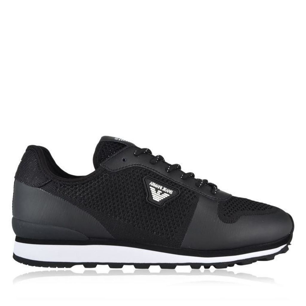 ARMANI JEANS Mesh Leather Low Top Trainers