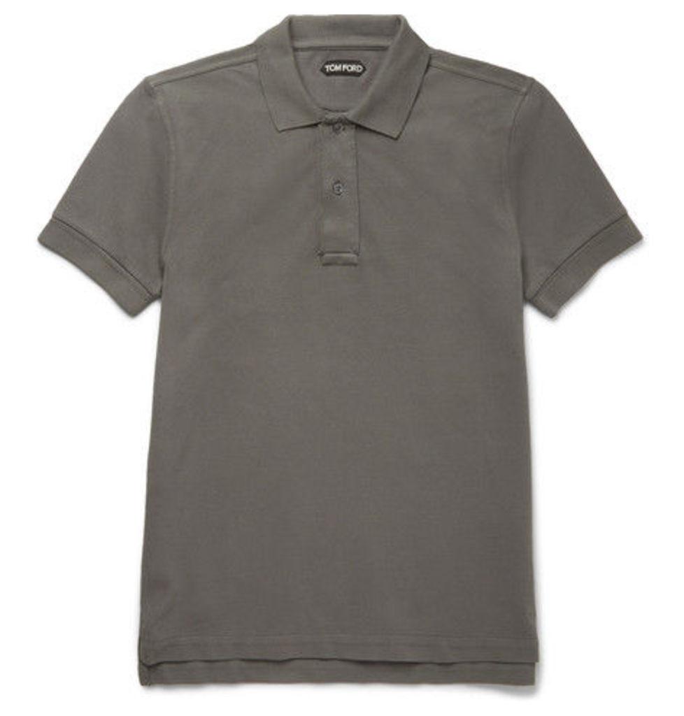 TOM FORD - Garment-dyed Cotton-piqué Polo Shirt - Gray