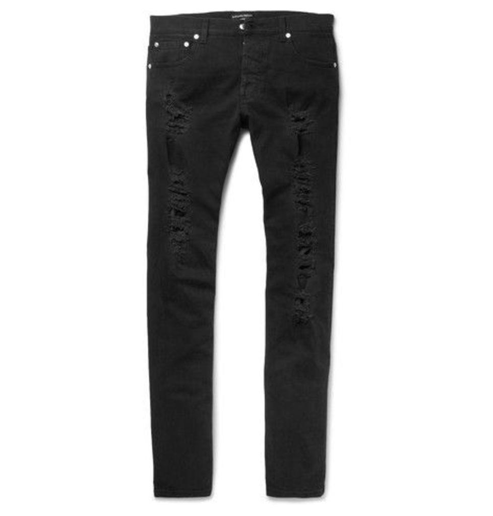 Alexander McQueen - Slim-fit Jacquard-trimmed Distressed Stretch-denim Jeans - Black