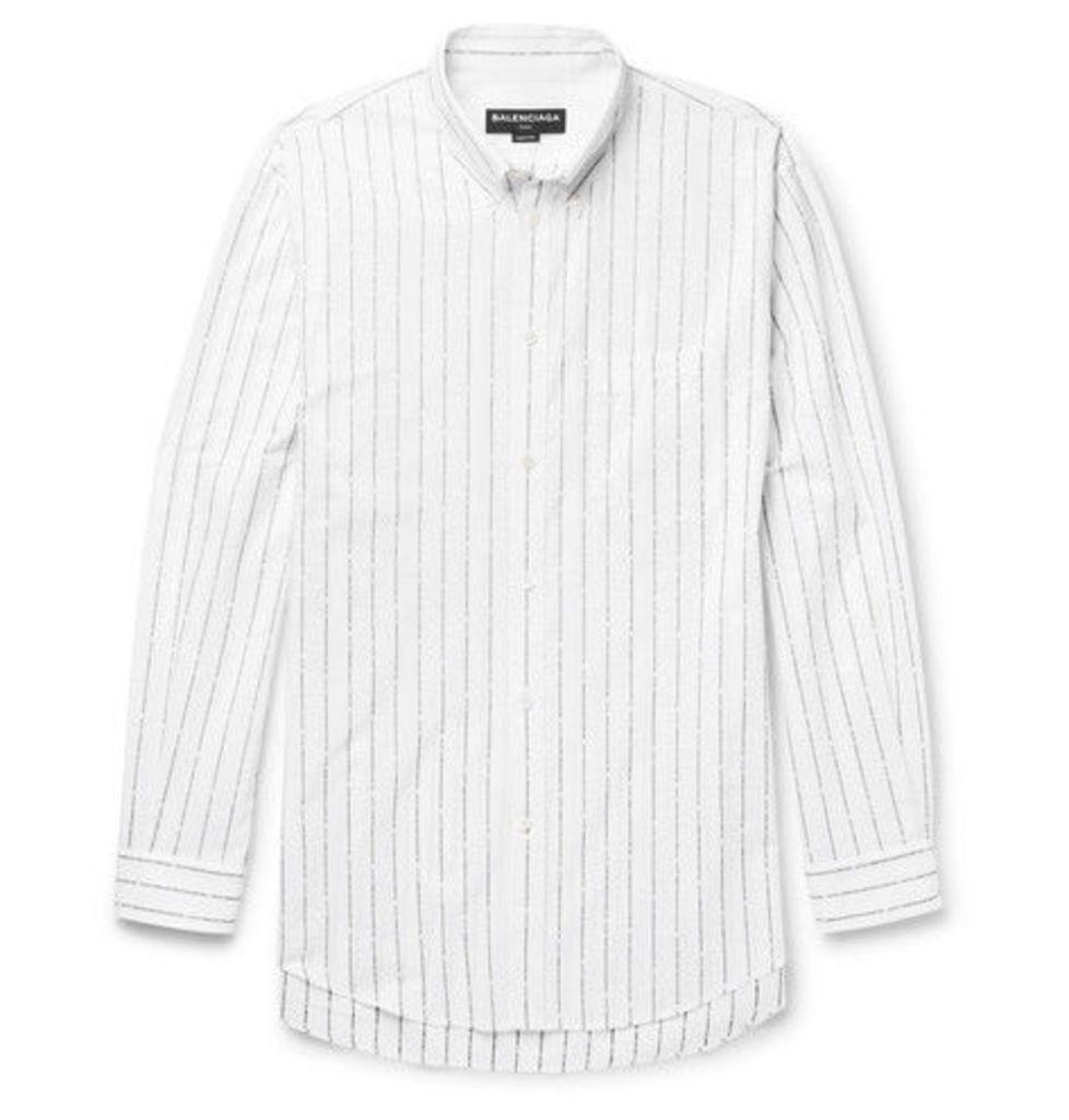 Balenciaga - Oversized Button-down Collar Cotton-jacquard Shirt - Black