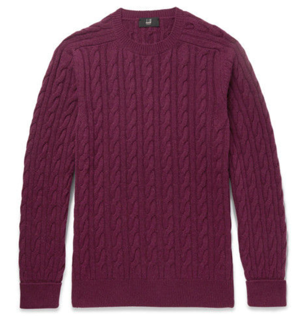 Dunhill - Slim-fit Cable-knit Cashmere Sweater - Plum