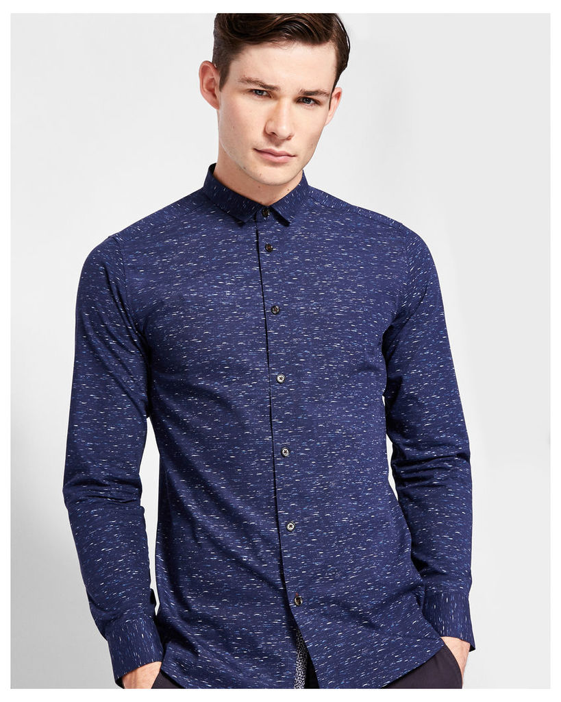 Ted Baker Nepped print cotton shirt Navy