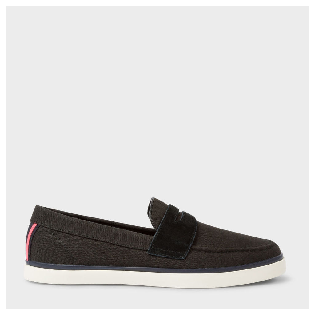 Men's Black Canvas 'Cheree' Slip-On Trainers
