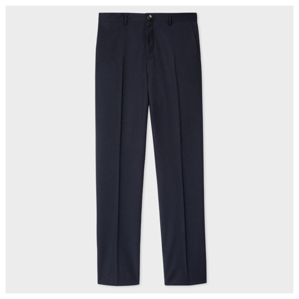 Men's Mid-Fit Navy Wool-Mohair Trousers