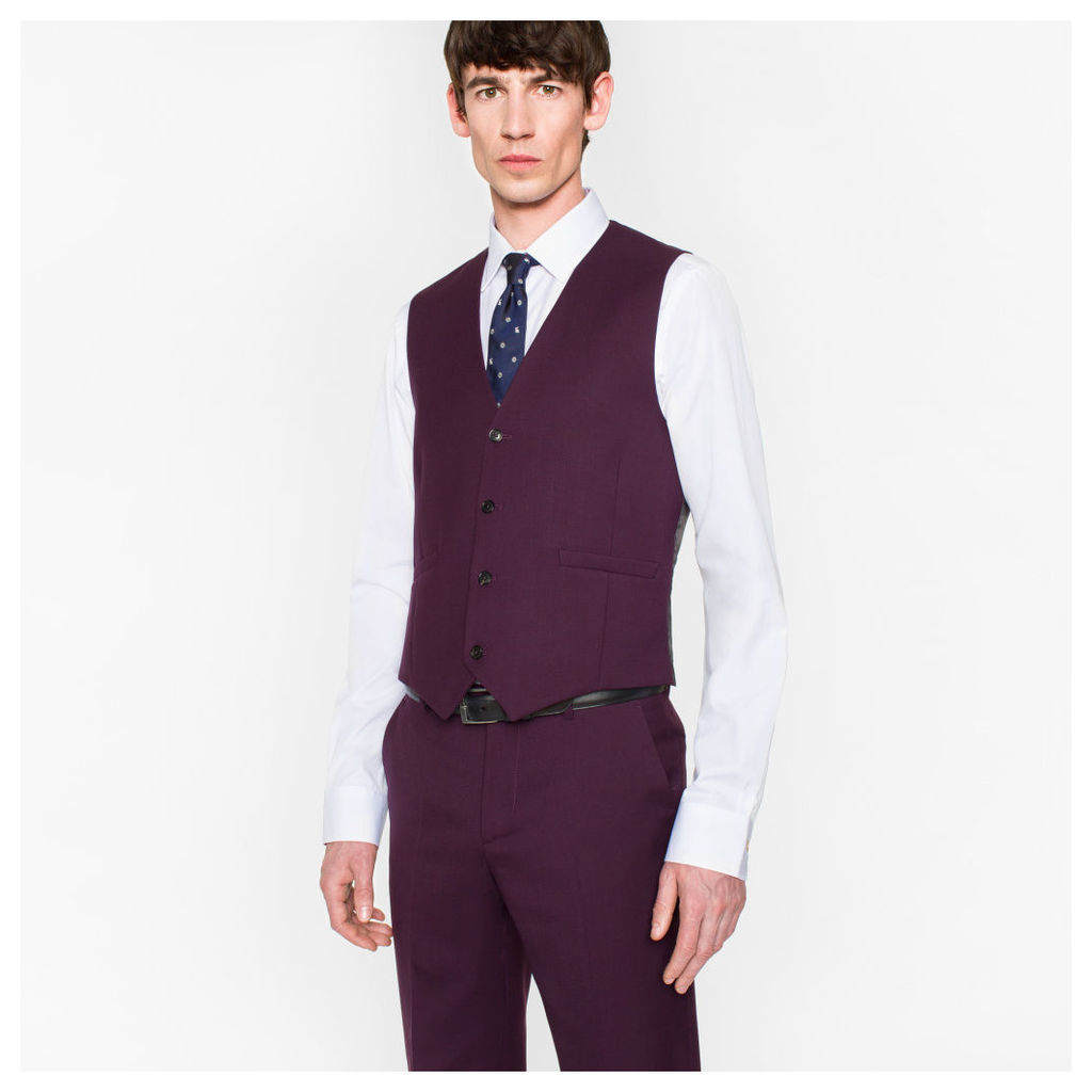 A Suit To Travel In - Men's Tailored-Fit Damson Wool Waistcoat