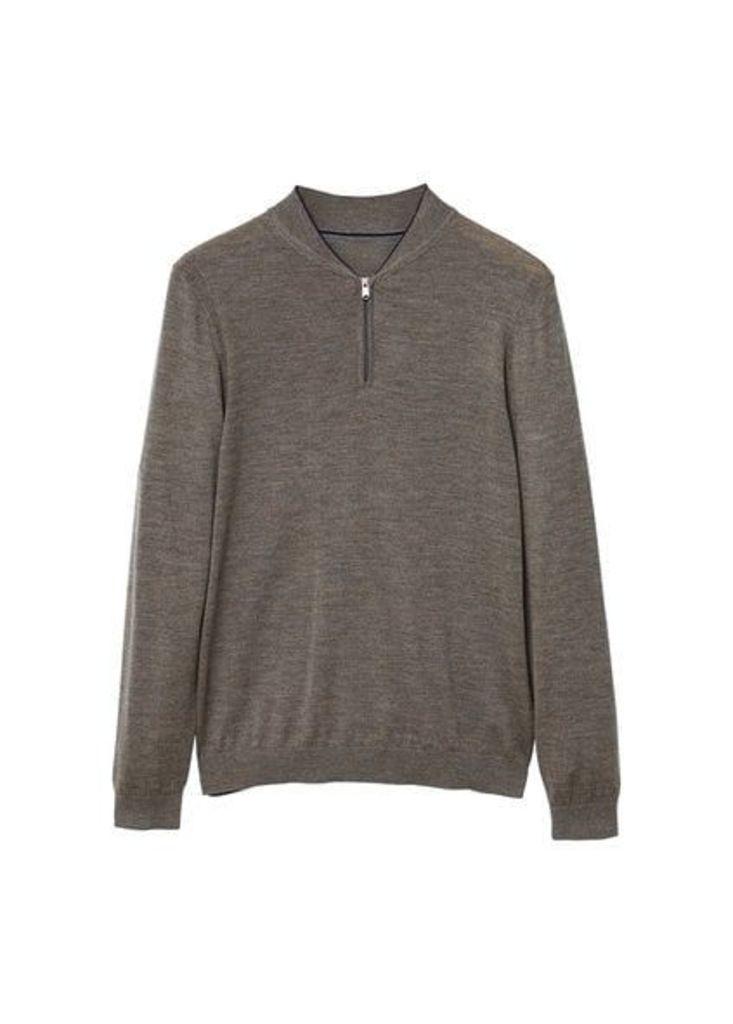 Wool zip neck jumper