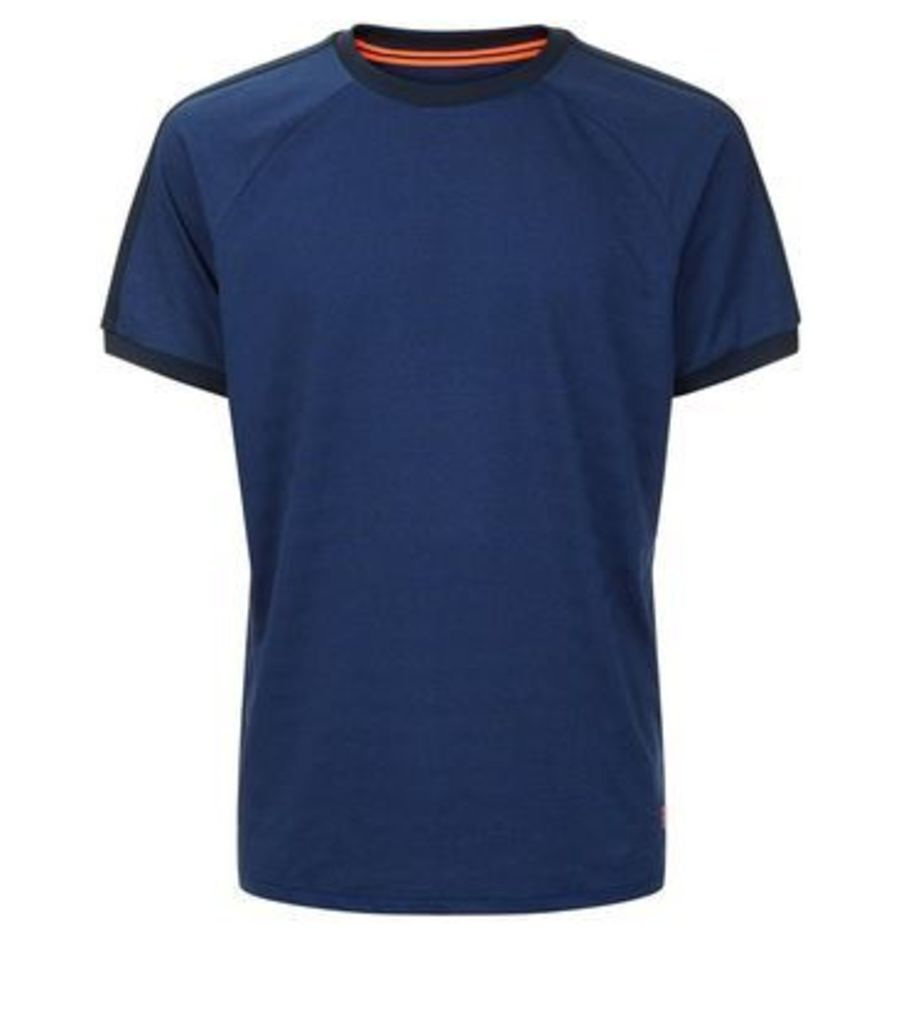 Blue Stripe Jacquard Sports T-Shirt New Look