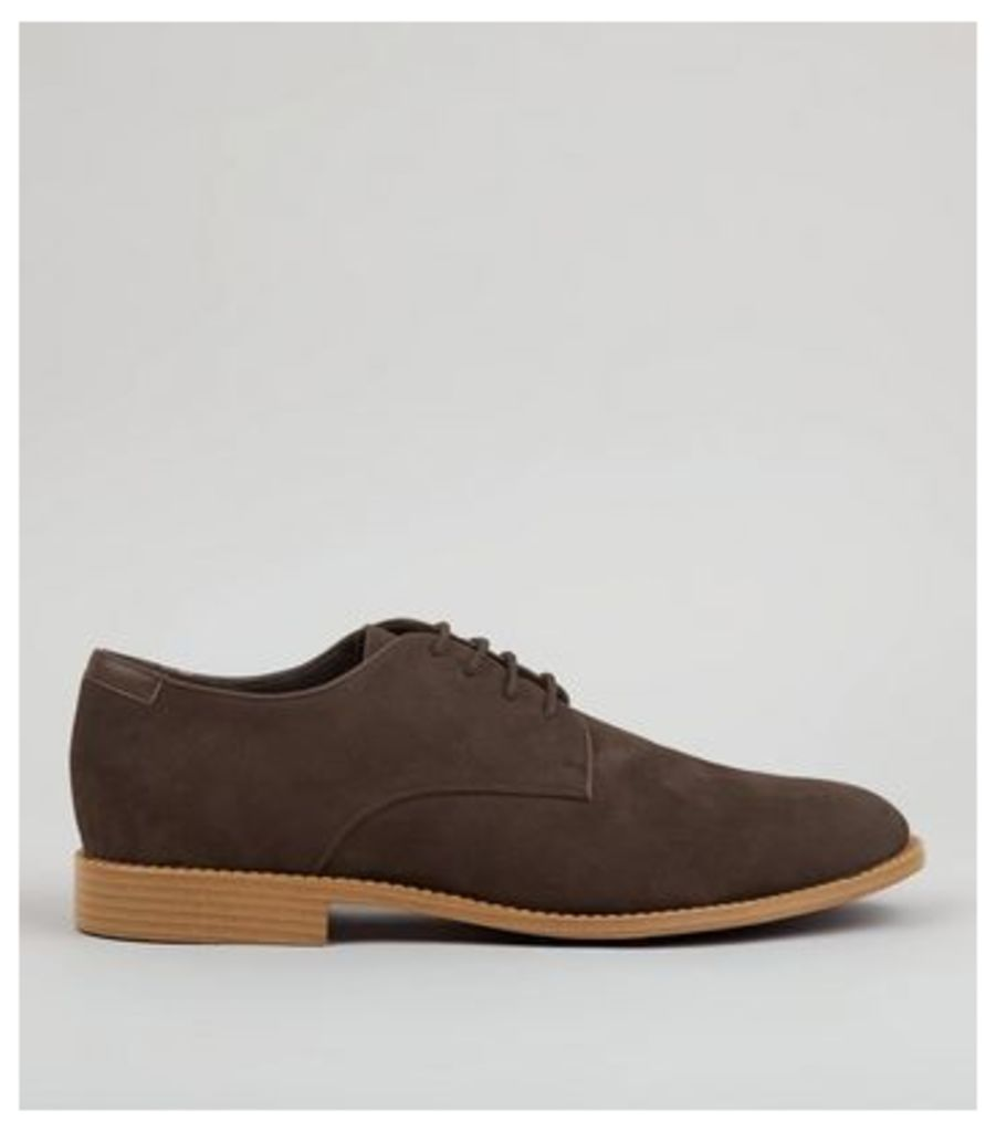 Brown Suedette Derby Shoes New Look