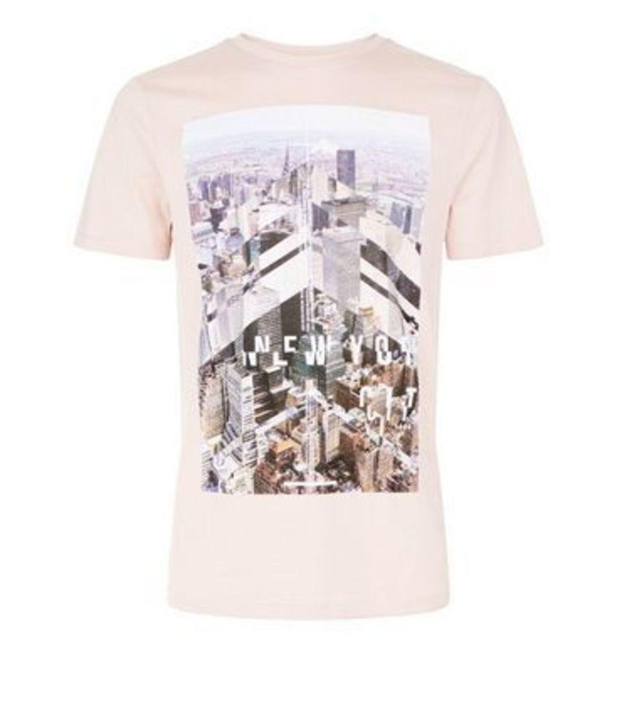 Shell Pink New York Print T-Shirt New Look