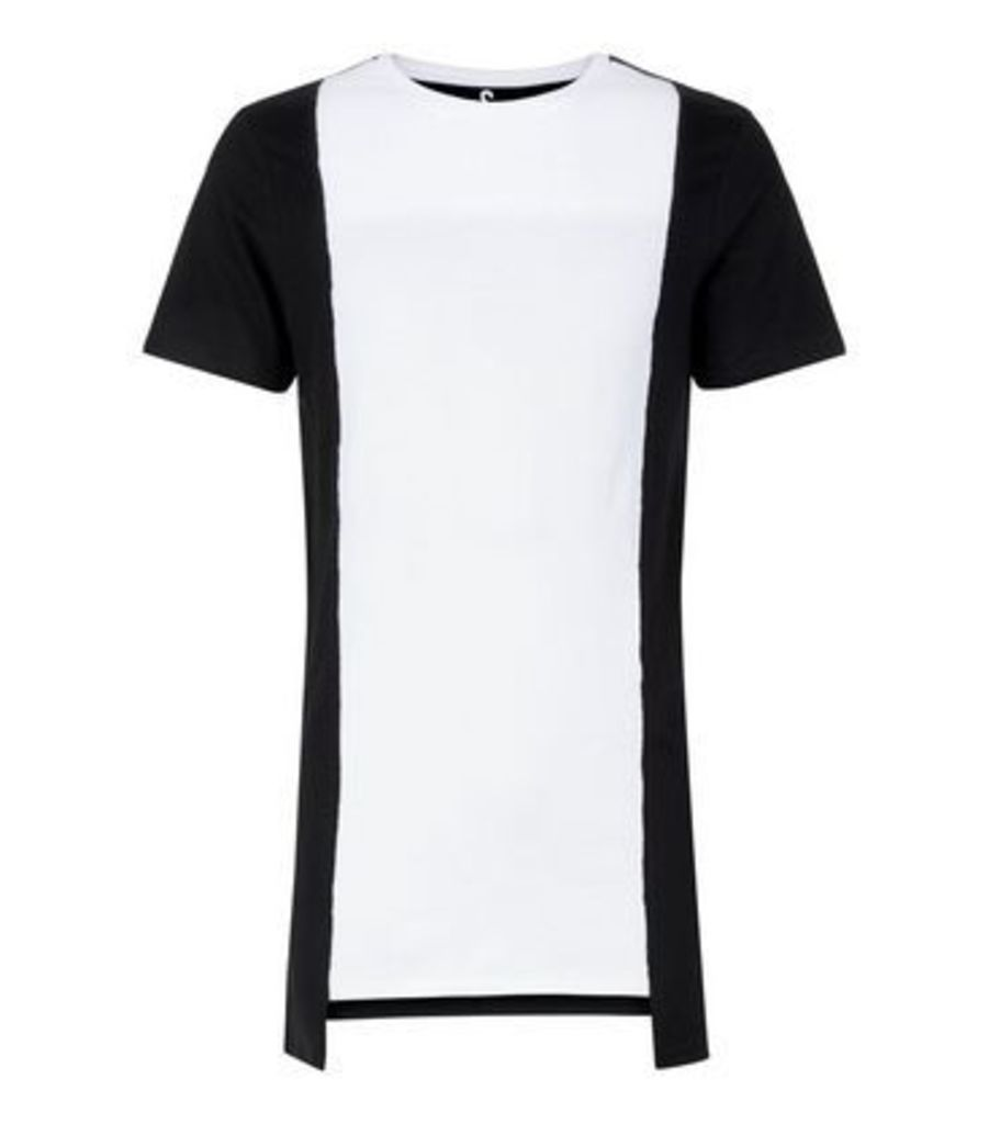 White Contrast Vertical Block T-Shirt New Look