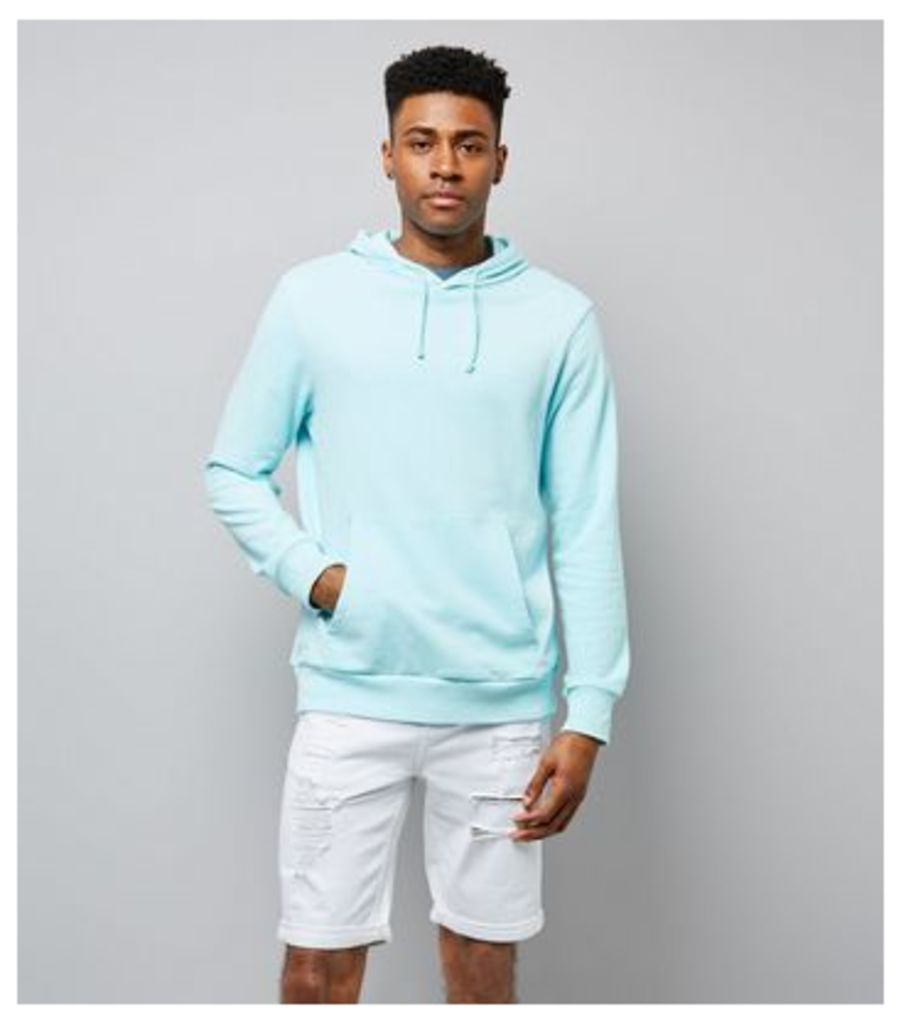 Mint Green Washed Pocket Front Hoodie New Look