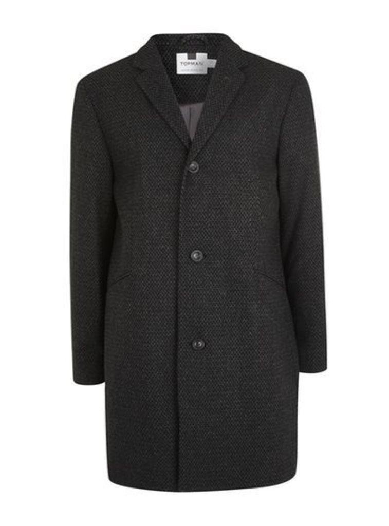 Mens Grey Textured Overcoat, Grey