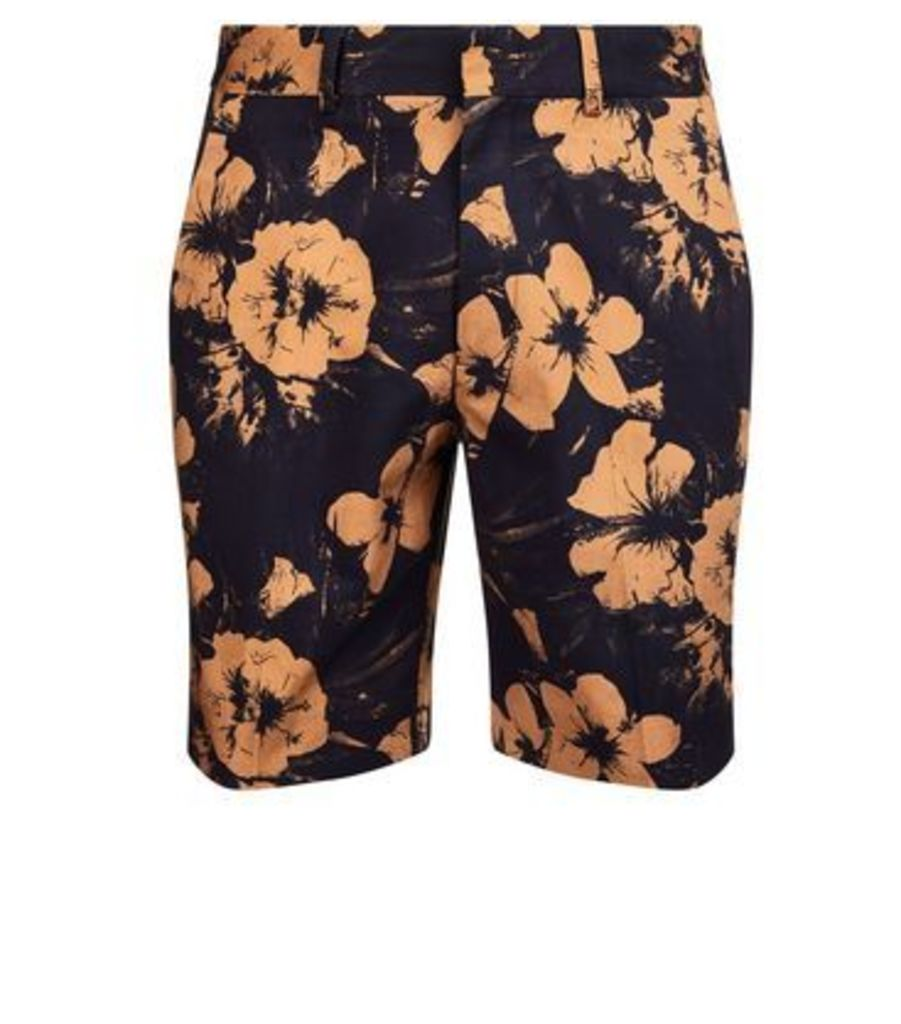 Navy Floral Print Tailored Shorts New Look