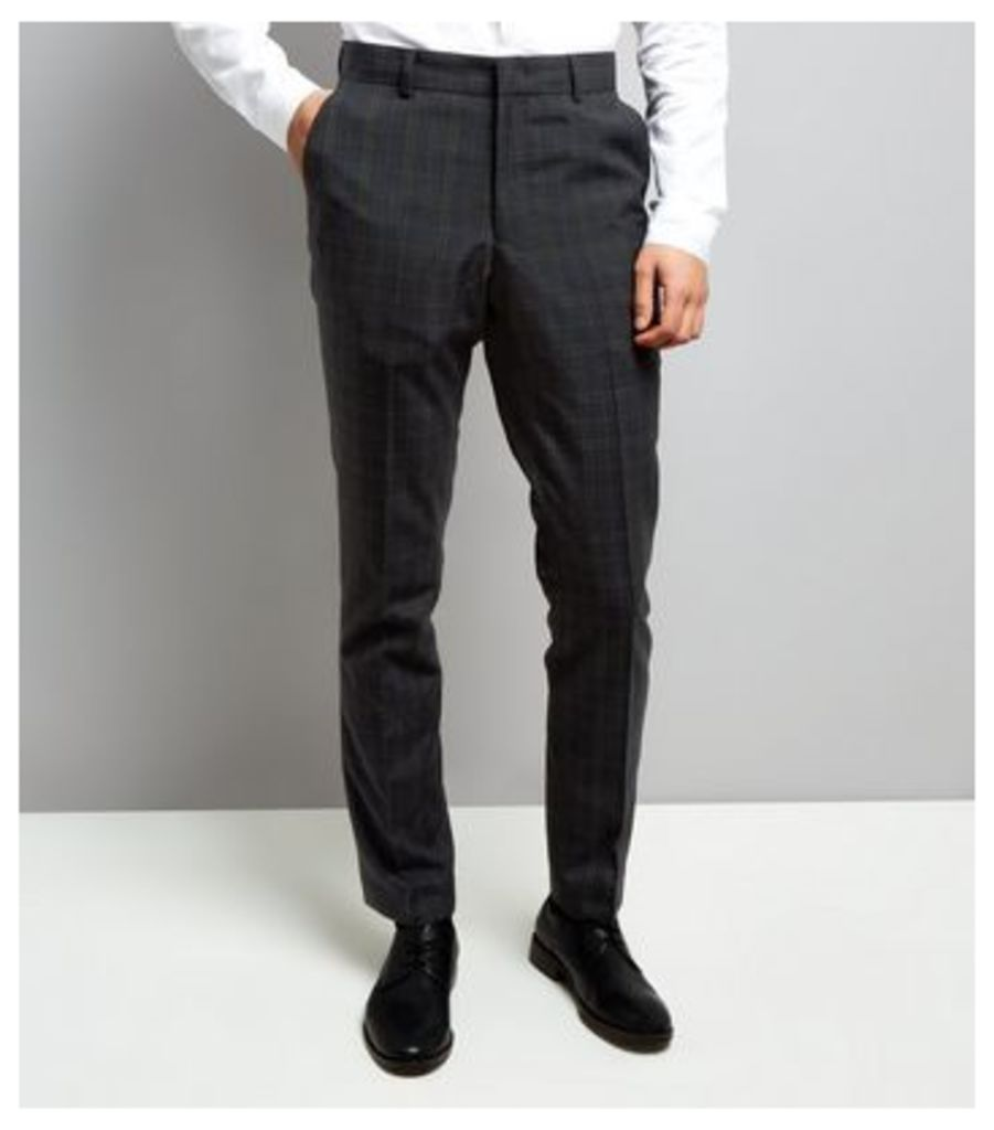 Navy Check Suit Trousers New Look