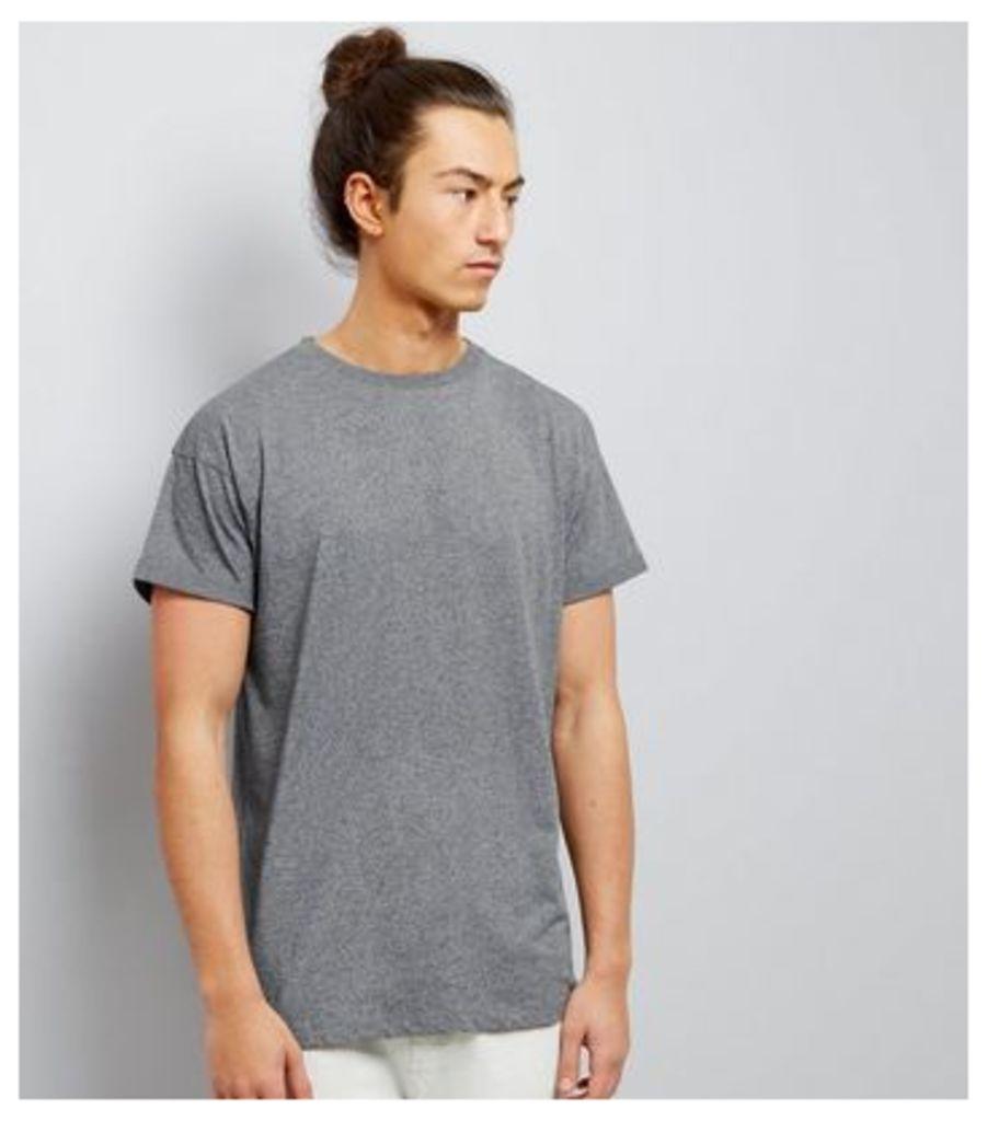 Light Grey Roll Sleeve T-Shirt New Look