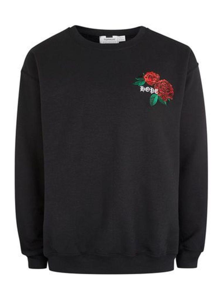 Mens Black Hope Rose Sweatshirt, Black