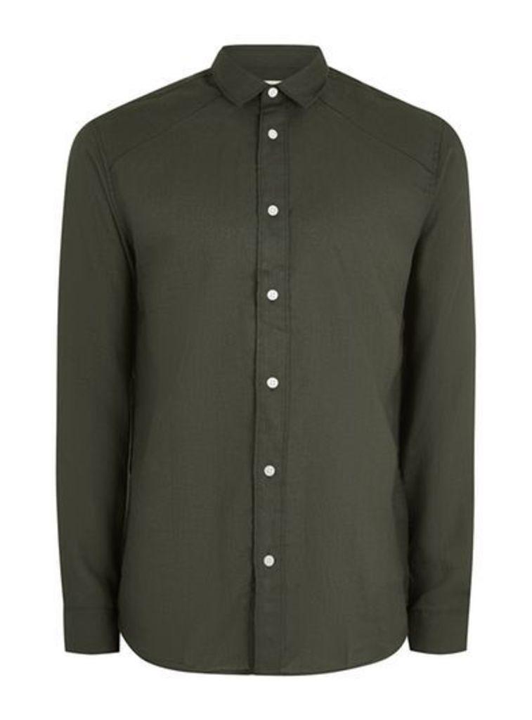 Mens Green Selected Homme Long Sleeve Shirt, Green