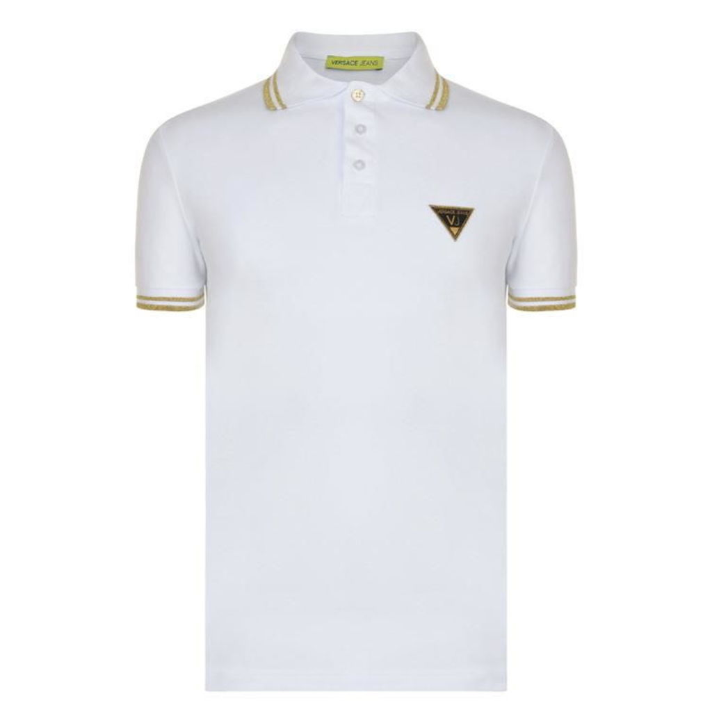 VERSACE JEANS Stripe Trim Logo Polo Shirt