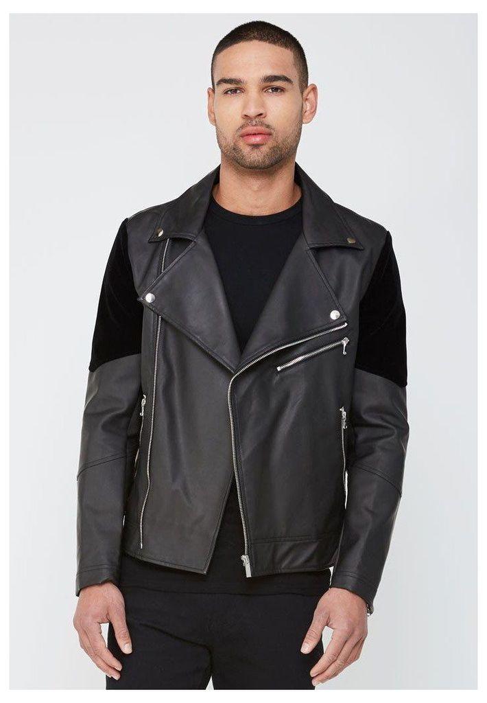 Biker Jacket with Velvet Panels - Black
