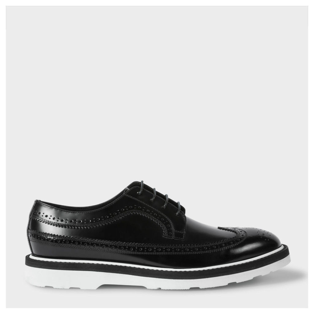 Men's Black Leather 'Grand' Brogues With White Soles