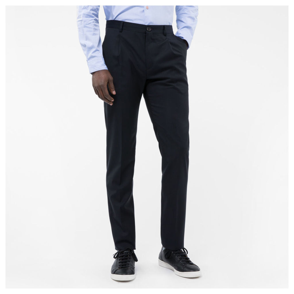 Men's Slim-Fit Navy Wool-Mohair Pleated Trousers
