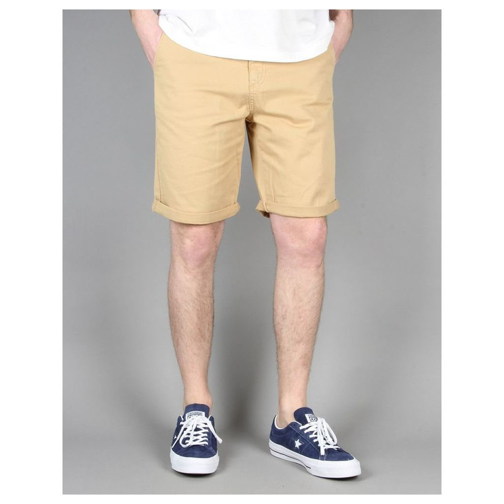 Route One Roll Up Chino Shorts - Khaki (34)