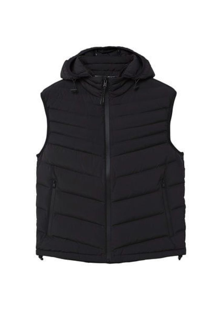 Hooded quilted gilet