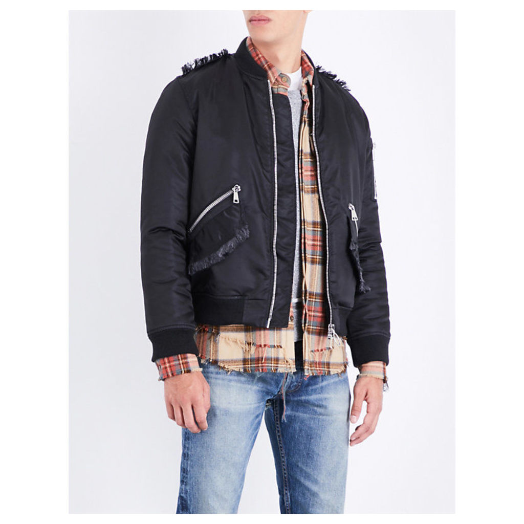 Frayed-trim shell bomber jacket