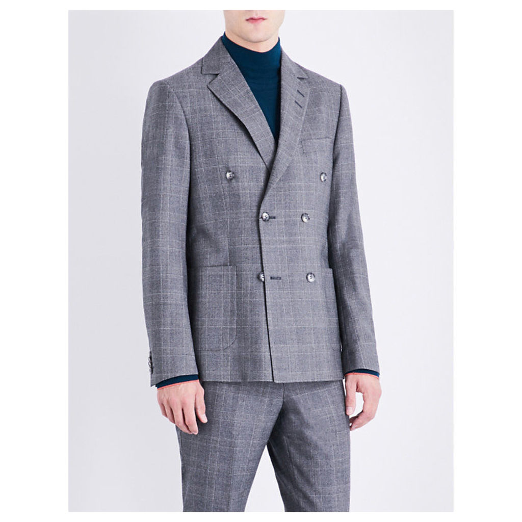 Checked slim-fit wool jacket