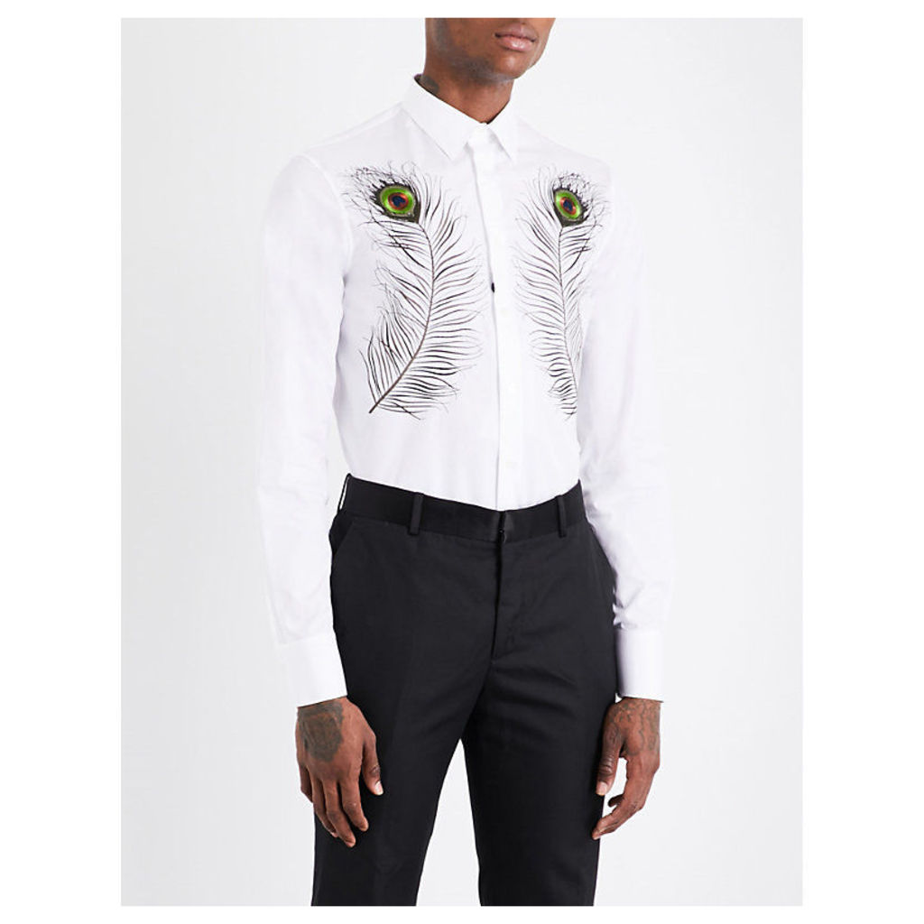 Peacock feather-embroidered slim-fit cotton shirt