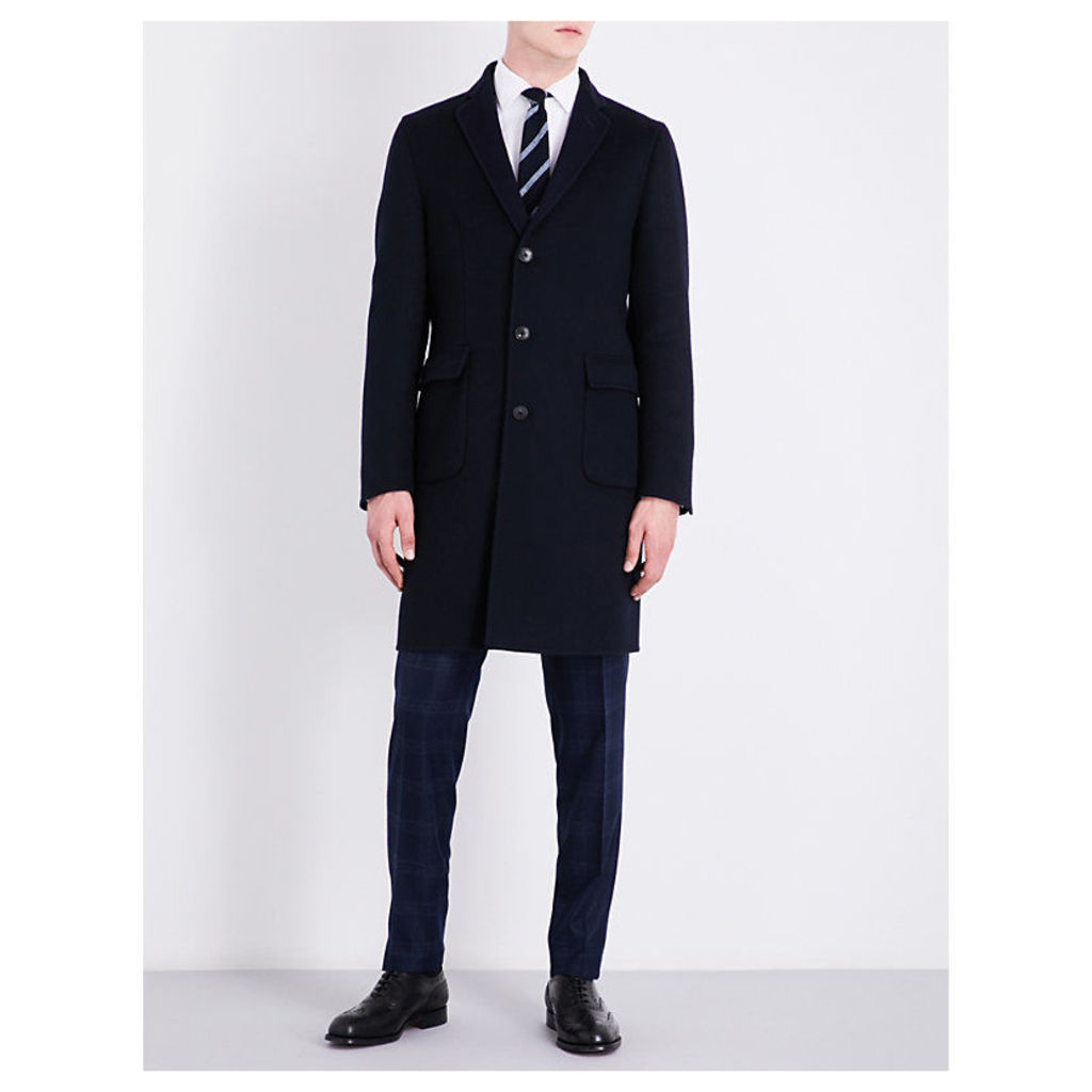 Regular-fit wool and cashmere-blend coat