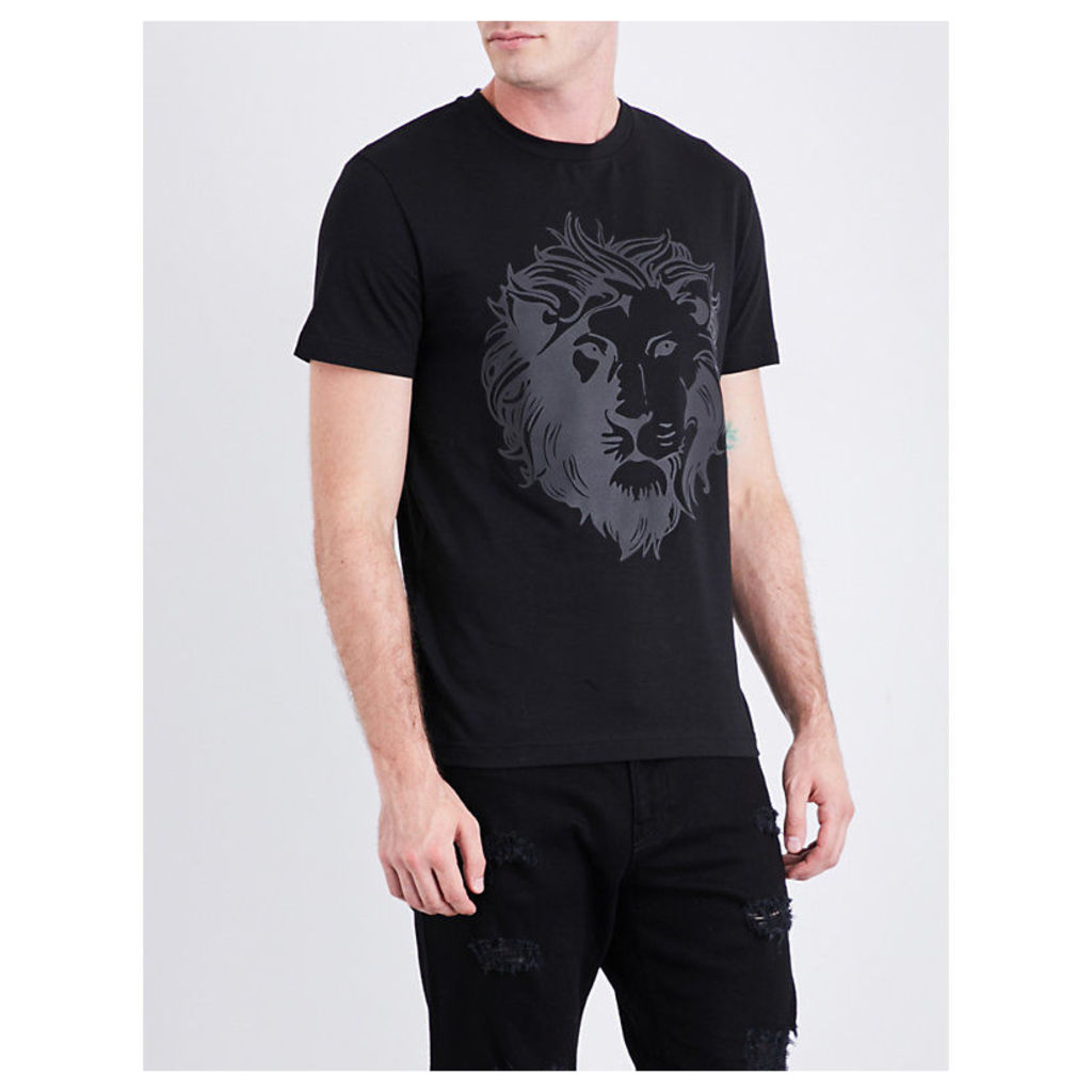 Lion-print cotton-jersey T-shirt