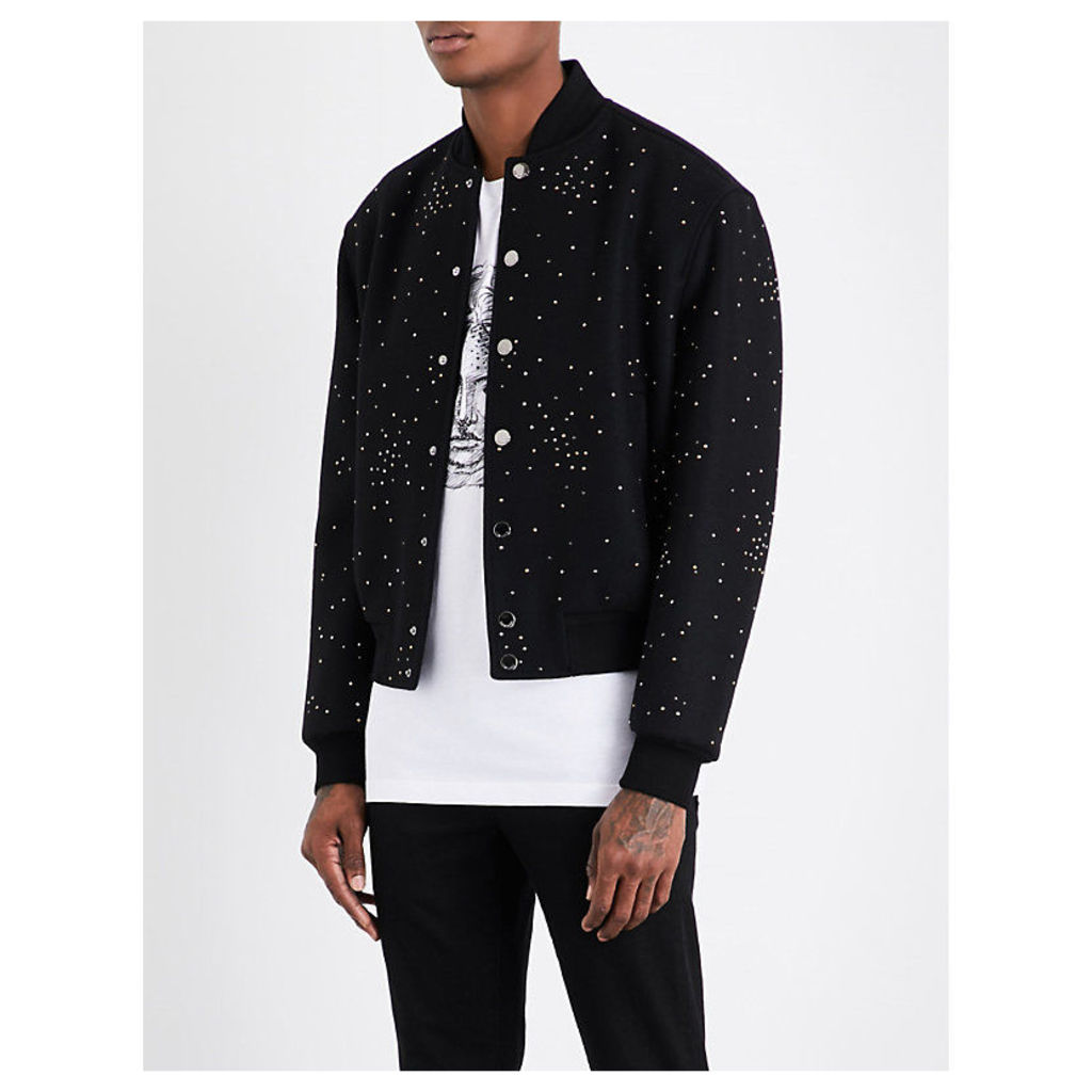 Crystal-embellished wool-blend bomber jacket