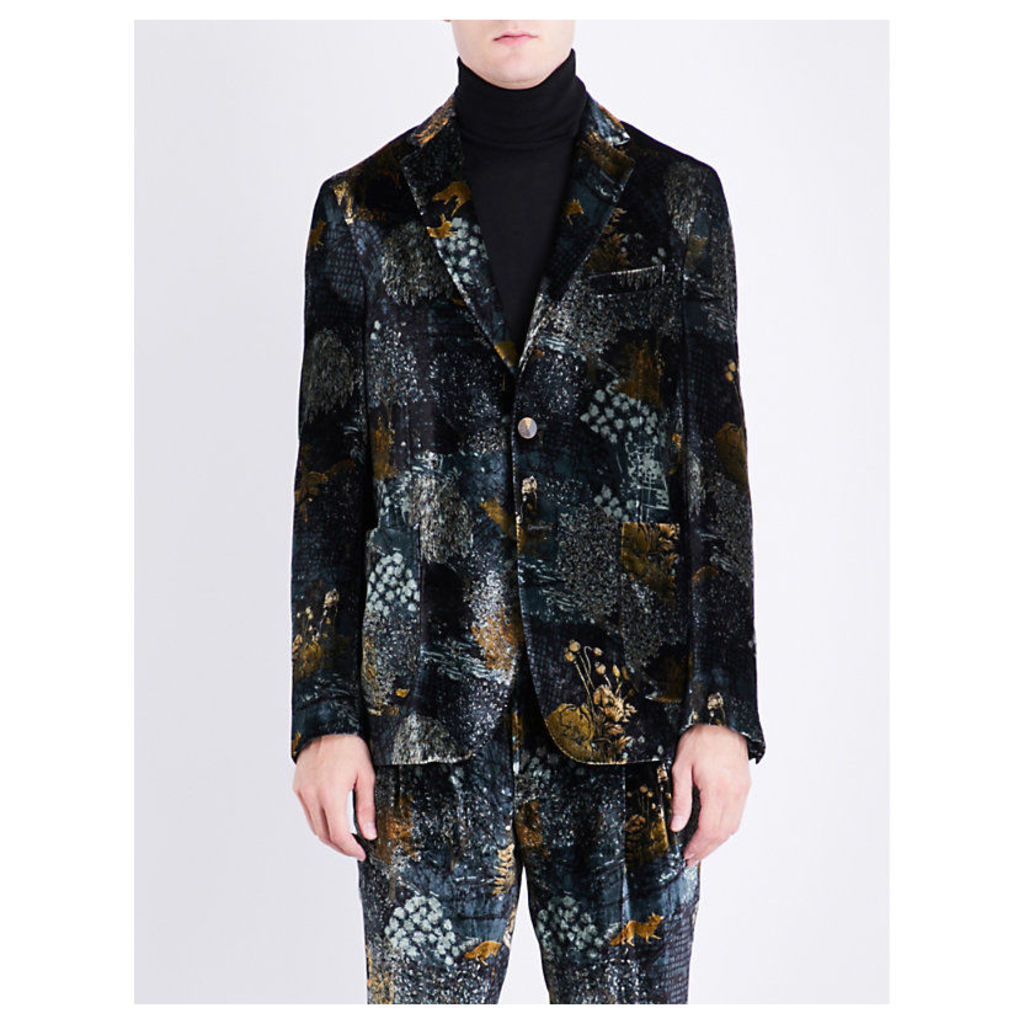 Forest-patterned regular-fit velvet jacket