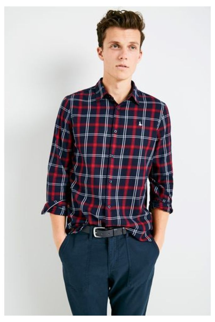 SALCOMBE FLANNEL CHECK SHIRT NAVY/RED