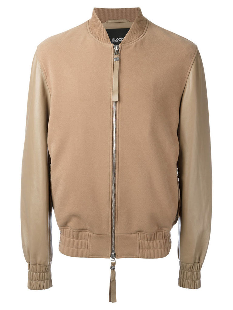 Blood Brother - Sand bomber jacket - men - Cotton/Lamb Nubuck Leather - M, Brown