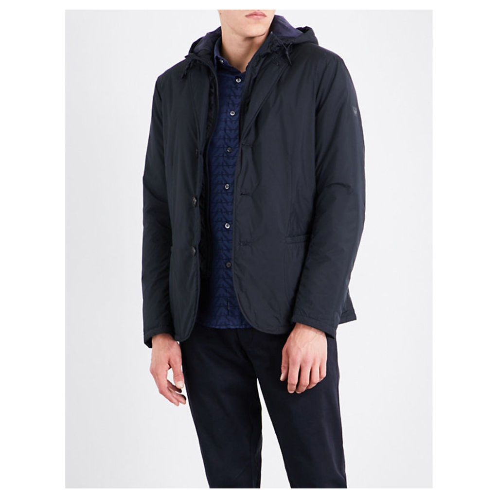 Detachable-hood shell jacket
