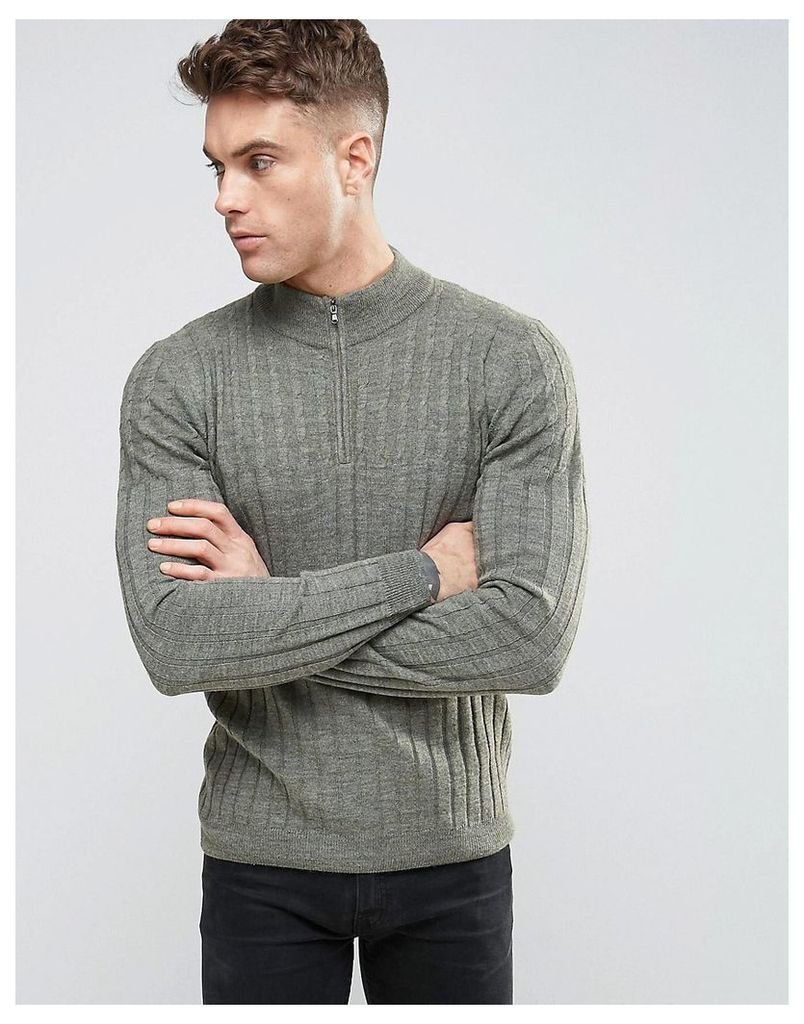 ASOS Cable and Rib Mix Jumper with Zip Turtle Neck in Wool Mix - Slate green