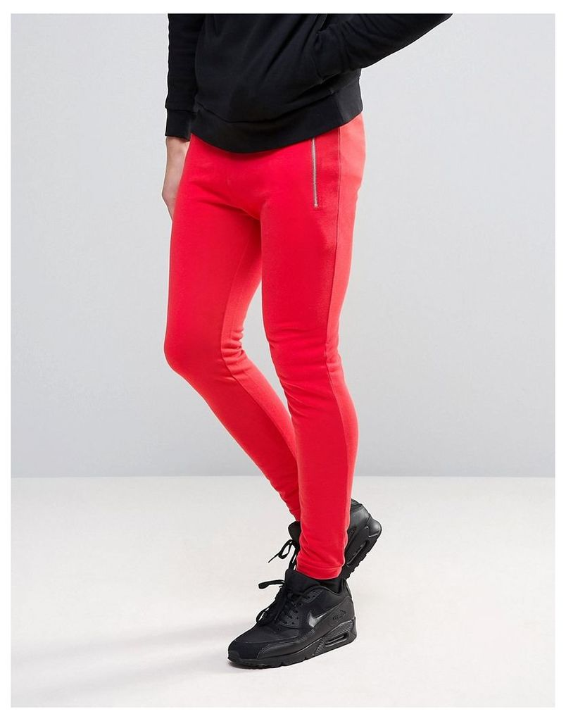 ASOS Super Skinny Joggers With Zips - Blood red