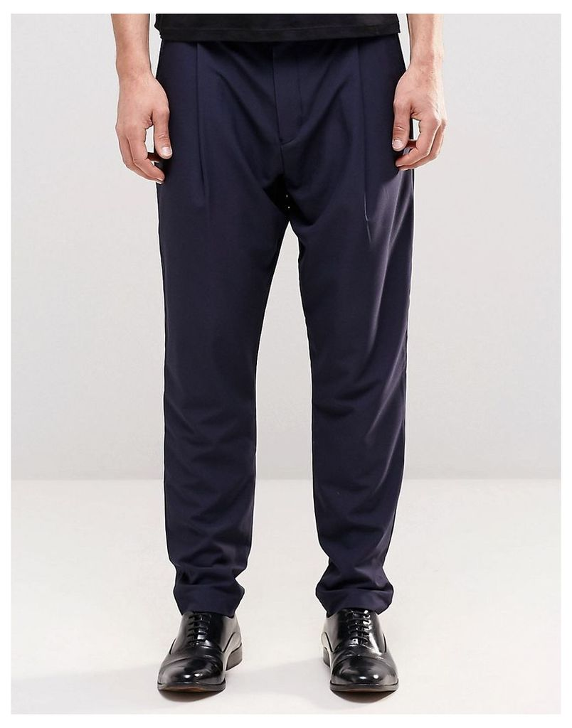 ASOS Smart Trousers In Drop Crotch - Navy