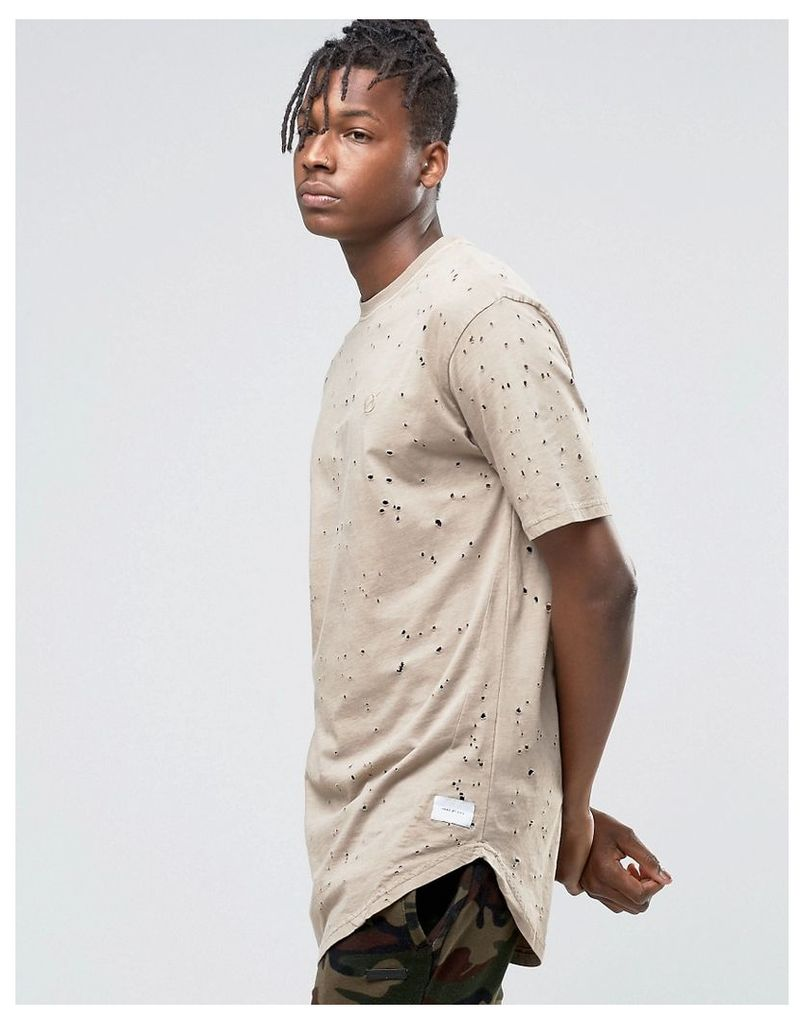 Hand Of God T-Shirt With Moth Holes - Stone
