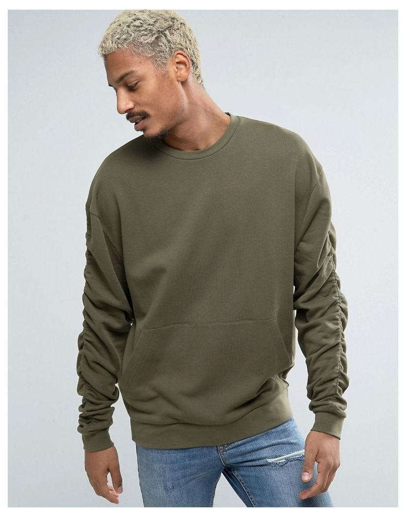 ASOS Oversized Sweatshirt With Ruched Sleeves In Khaki - Toad