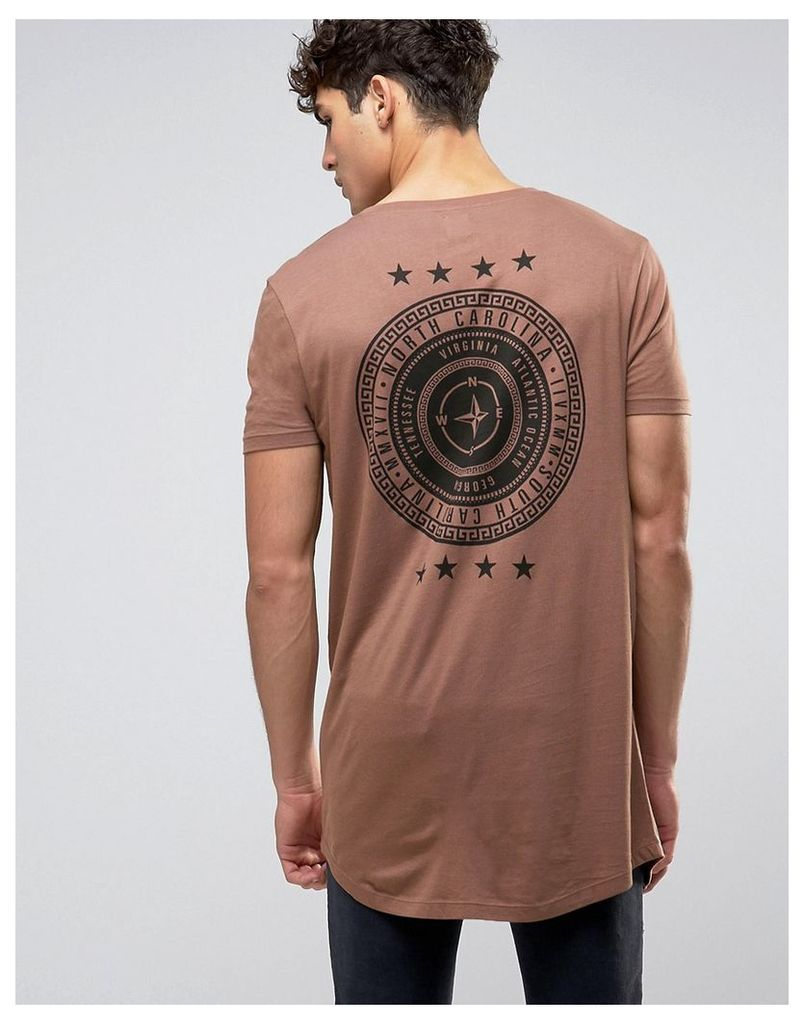 ASOS Super Longline T-Shirt With Compass And Stars Back Print - Coconut