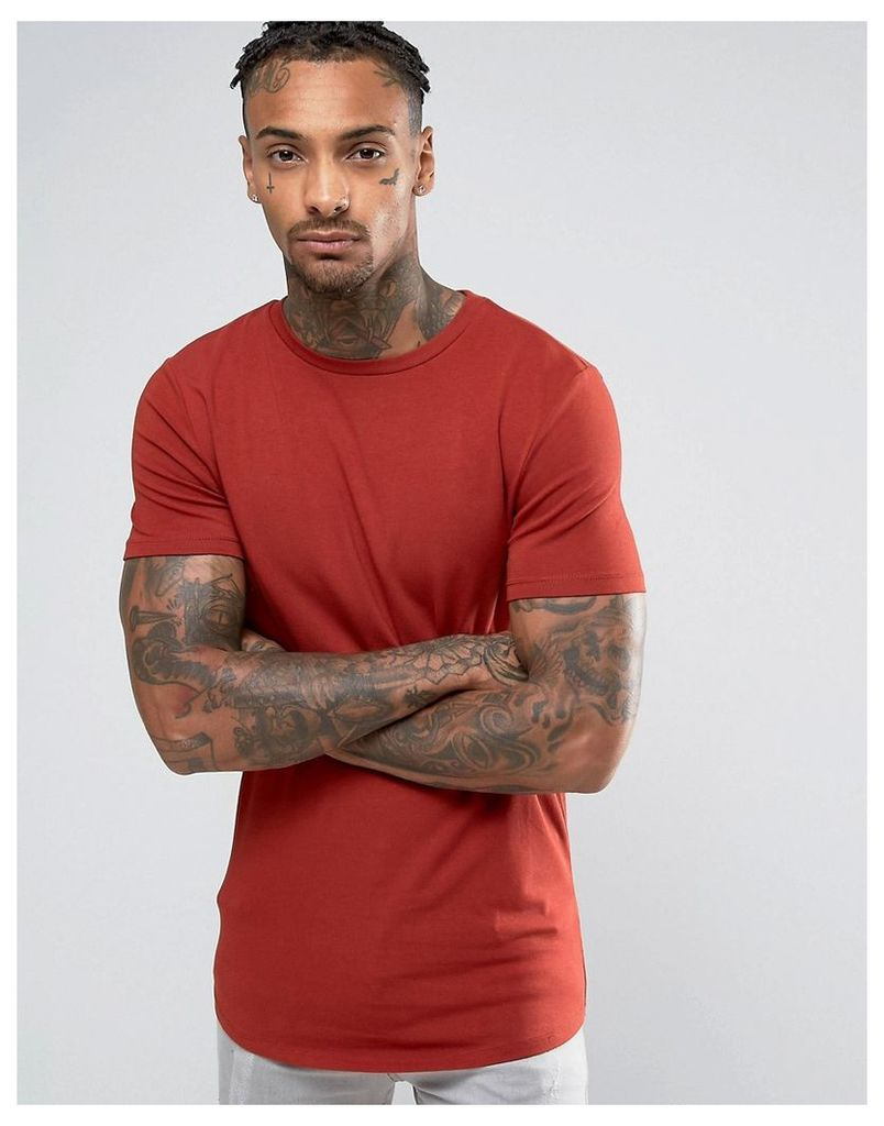 ASOS Longline Muscle T-Shirt With Curved Hem In Red - Blood orange