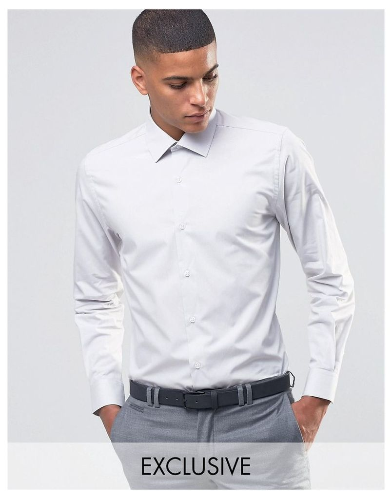 Number Eight Savile Row Skinny Smart Shirt with Point Collar - Stone