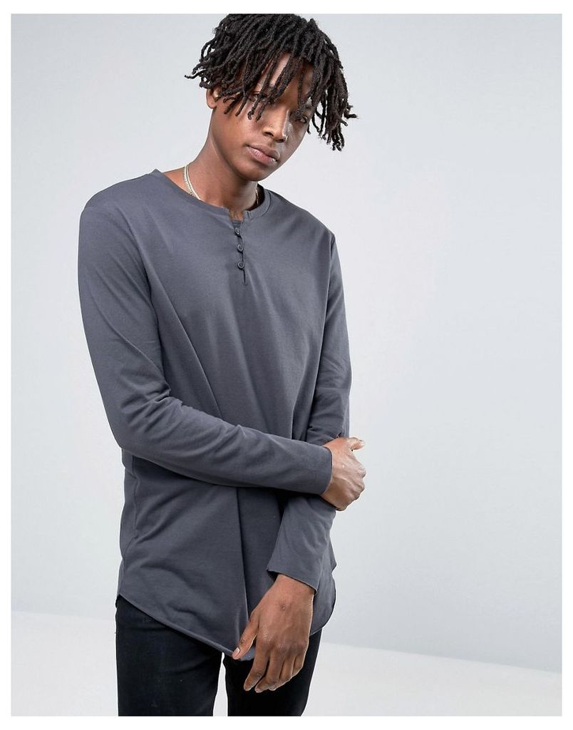 ASOS Longline Long Sleeve T-Shirt In Washed Black With Grandad Collar - Black