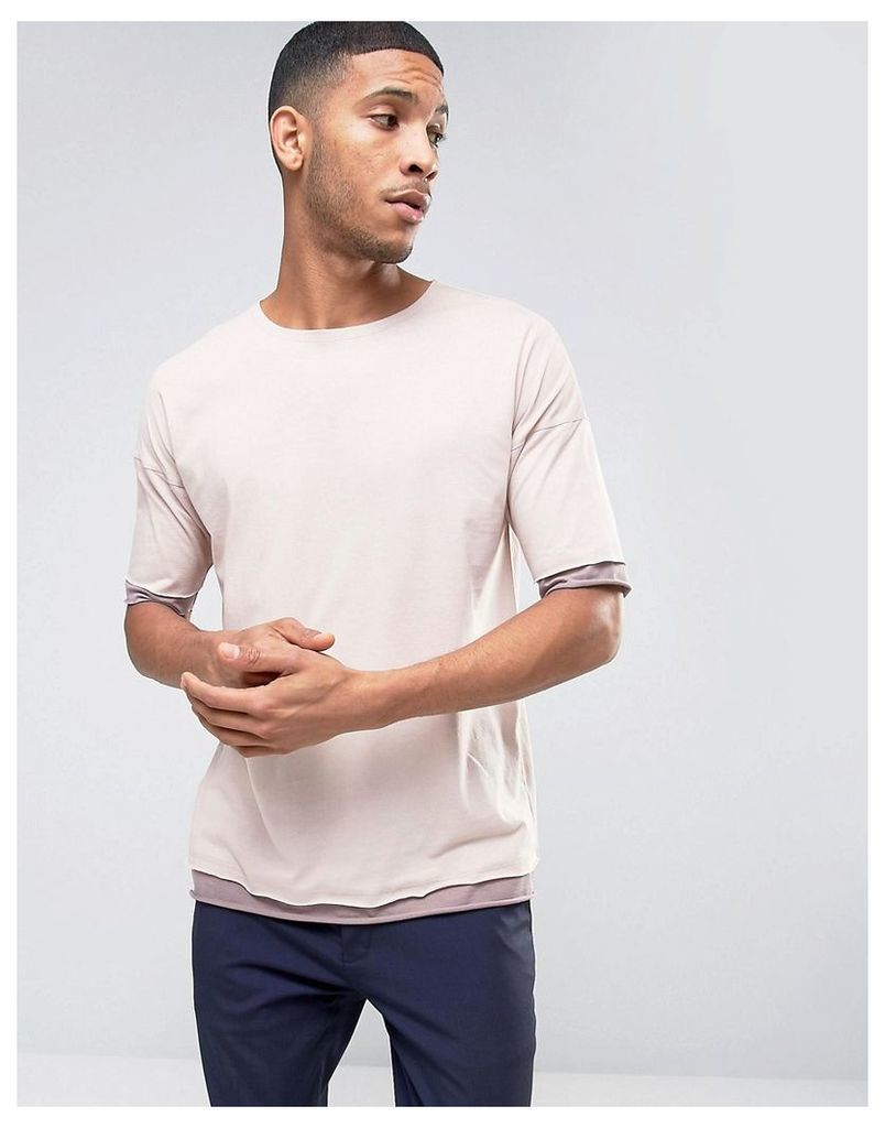 ASOS Oversized T-Shirt With Contrast Cuff And Hem Extender And Crew Neck - Pink/pink
