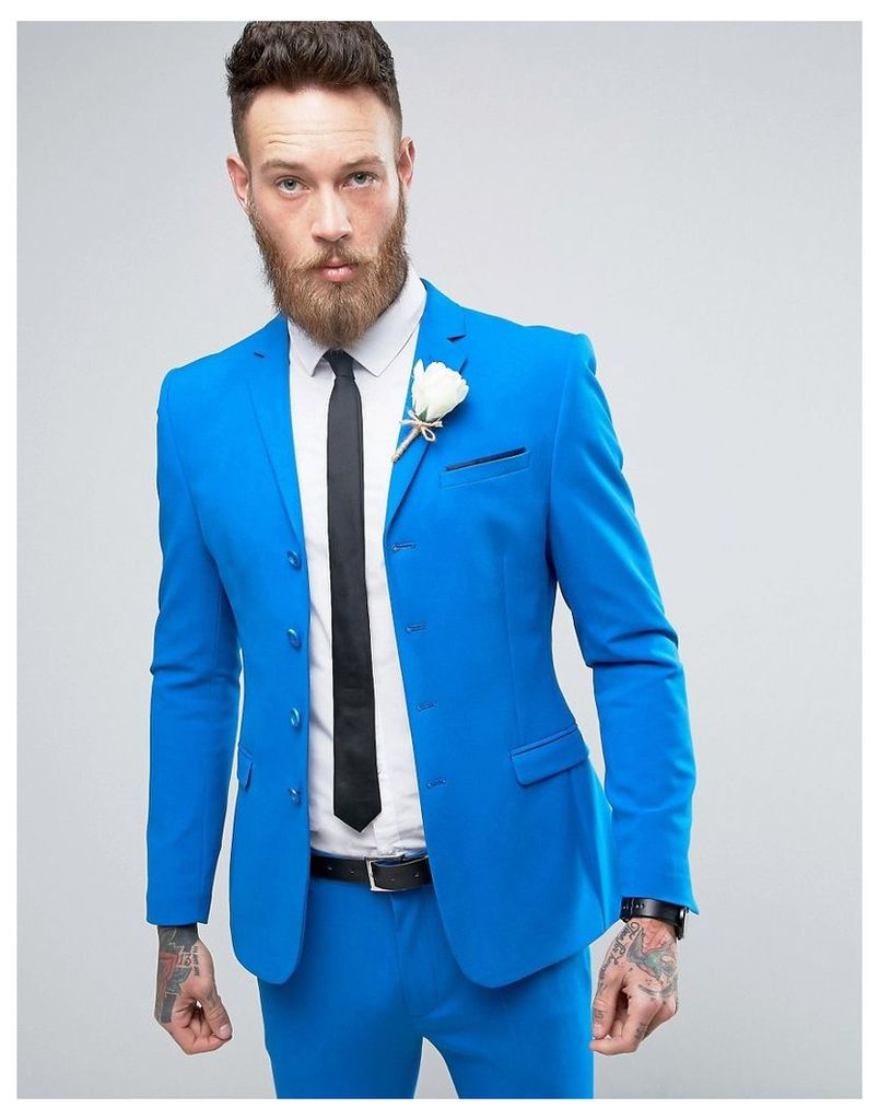 ASOS WEDDING Super Skinny Four Button Suit Jacket In Bright Blue - Blue